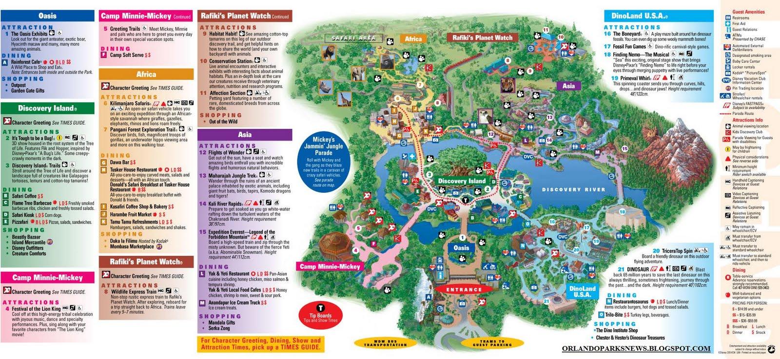 Orlando Theme Park News: Disney's Animal Kingdom park map