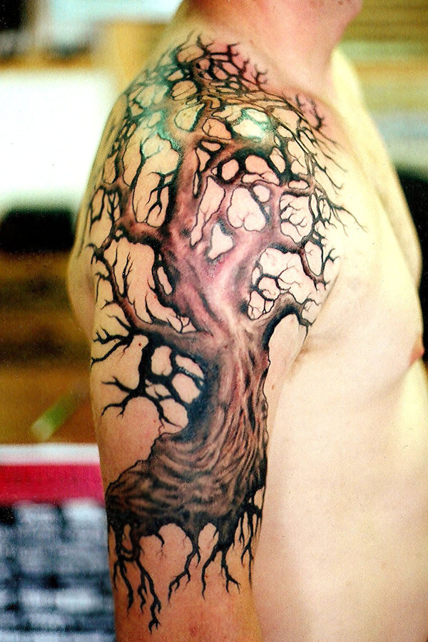 tree tattoos. oak tree tattoos. tree tattoo.
