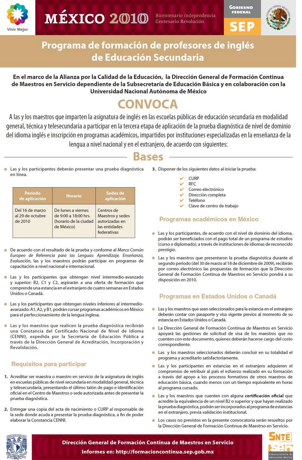 Centro de maestros 0303 la paz convocatoria para for Convocatoria de maestros