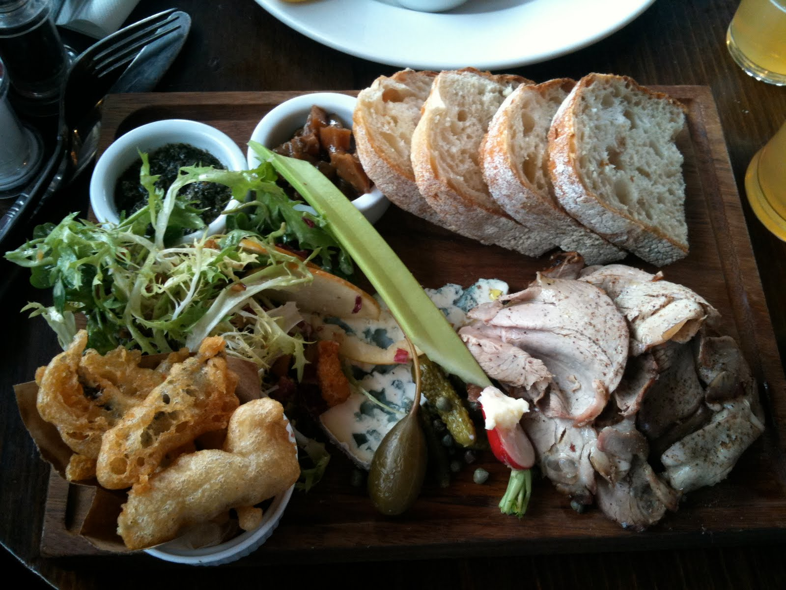 Lamb ploughman s lunch with anchovy fritters blue cheese