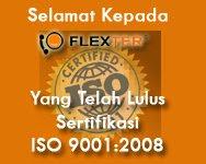 Flexter memiliki sertifikat ISO 9001 standar internasional