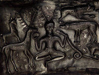 Cernunnos is a pagan Celtic god represented by the horned figure on the Gundestrup Cauldron discovered in Denmark in 1891