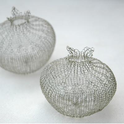 silver wire crochet pomegranates