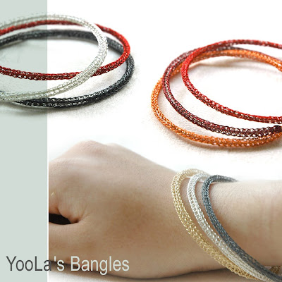 bangle hoop crochet handmade circle wrist silver gold copper red orange green fall bracelet חישוק בנגל צמיד עגול עיגול ע כסף זהב עבודת יד