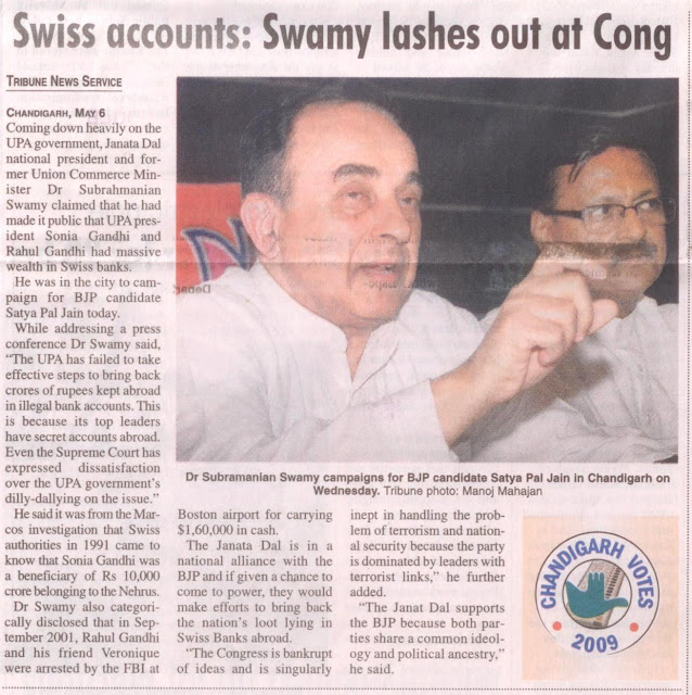 Dr. Subramanian Swamy campaigns for BJP candidate Satya Pal Jain in Chandigarh on Wednesday.