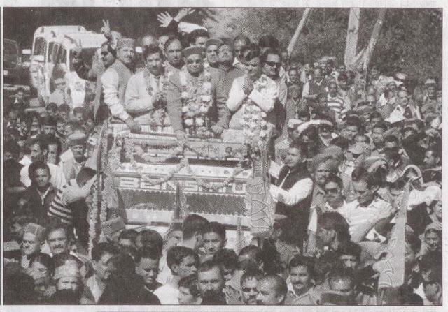 रोहडू सीट से बालनाहटा ने भरा नामांकन, साथ में मुख्यमंत्री प्रेम कुमार धूमल, प्रभारी सत्यपाल जैन व अन्य नेता।