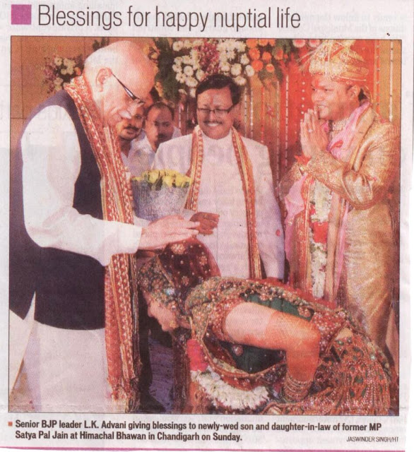 Senior BJP leader L.K. Advani giving blessings to newly-wed son and daughter-in-law of former MP Satyapal Jain at Himachal Bhawan in Chandigarh on Sunday.