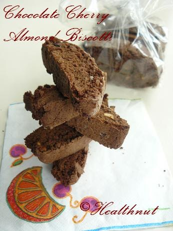 Health Nut: Low Sugar,Sugar-Free Chocolate Cherry Almond Biscotti