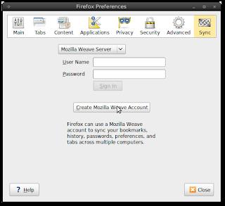 Firefox weave sync menu
