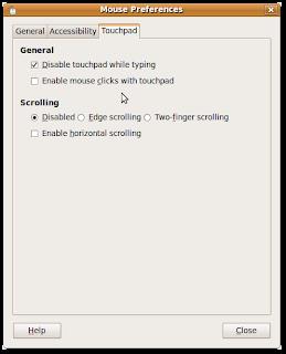 Ubuntu Mouse Preferences, touchpad settings