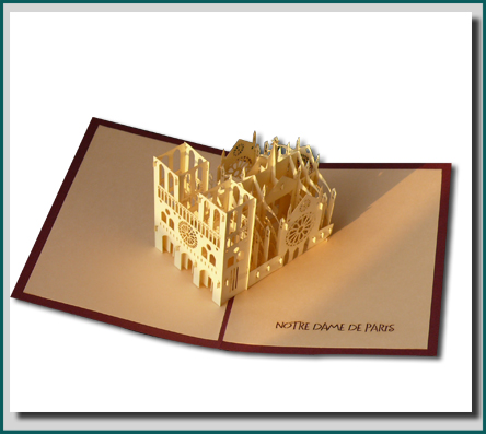 Origami pop-up greeting card of norte dame