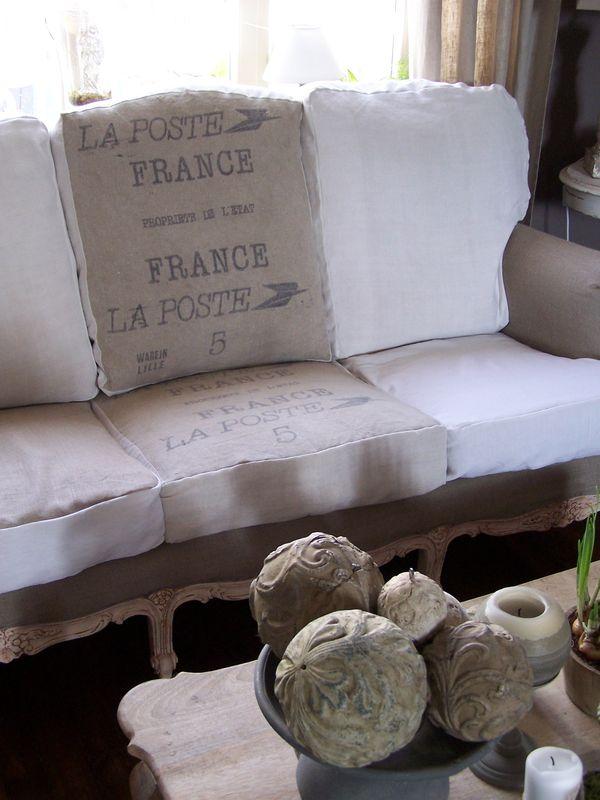 Hoy quiero cojines con tela de saco amor por la for Cortinas de tela de saco