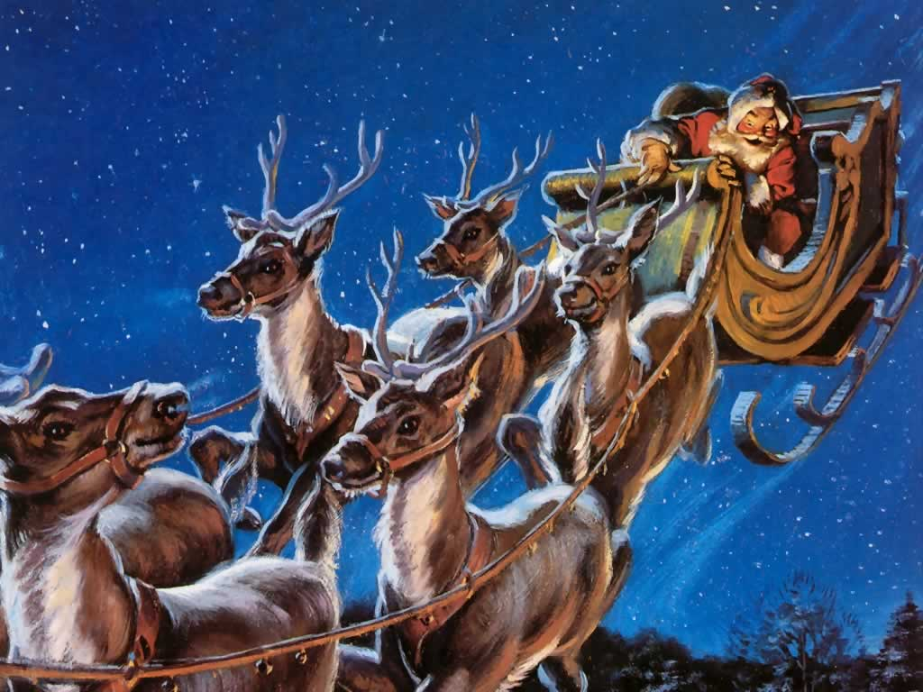 Santa And Reindeer Wallpapers