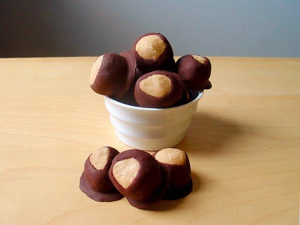 Candy shaped like a tree nut. Buckeyes