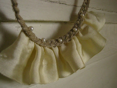 hemp braid, pearl, and ribbon necklace