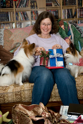 Beth with presents and doggies!