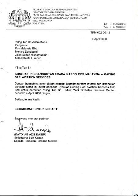 RAKYAT MARHAEN: SURAT SKANDAL NAJIB DENGAN POS MALAYSIA