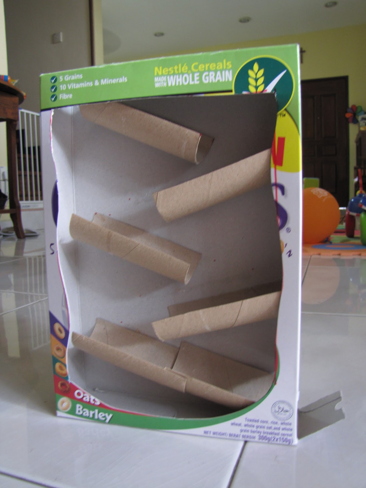 This mama loves mommade 39 marble 39 run homemade for What type of cardboard are cereal boxes made of