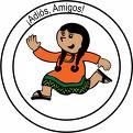 Picture of young Hispanic girl running with words adios amigos enclosed in two circles.