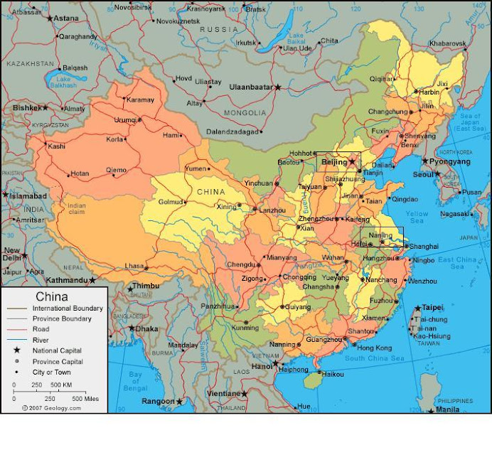 Map of China - Where I would be going
