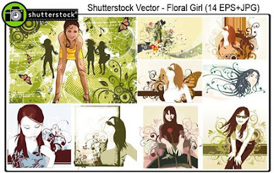 Shutterstock Floral Girl Vectors Mix