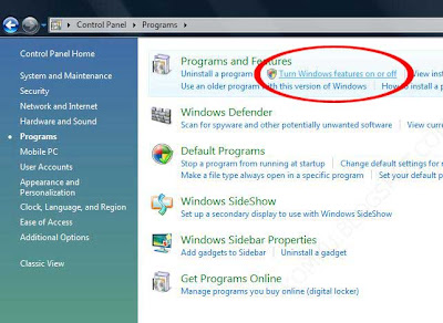 Select Turn Windows features on or off