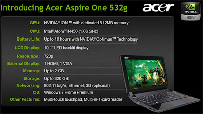 Acer Aspire One 532G Specifications