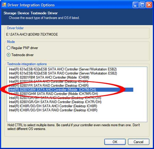 driver integration options window