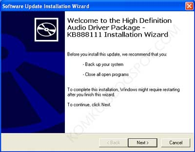 KB888111 Installation wizard