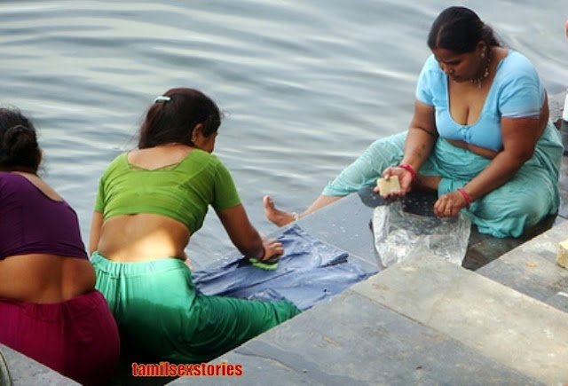 Women Washing Cloths At The River In Petticoat Blouse Only