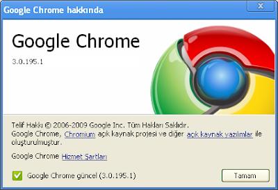 Google Chrome Güncelleme 3.0.195.1