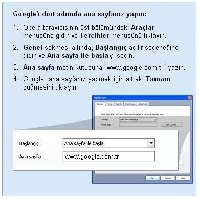 Opera Tarayıcı google ana sayfa yapma ayarları