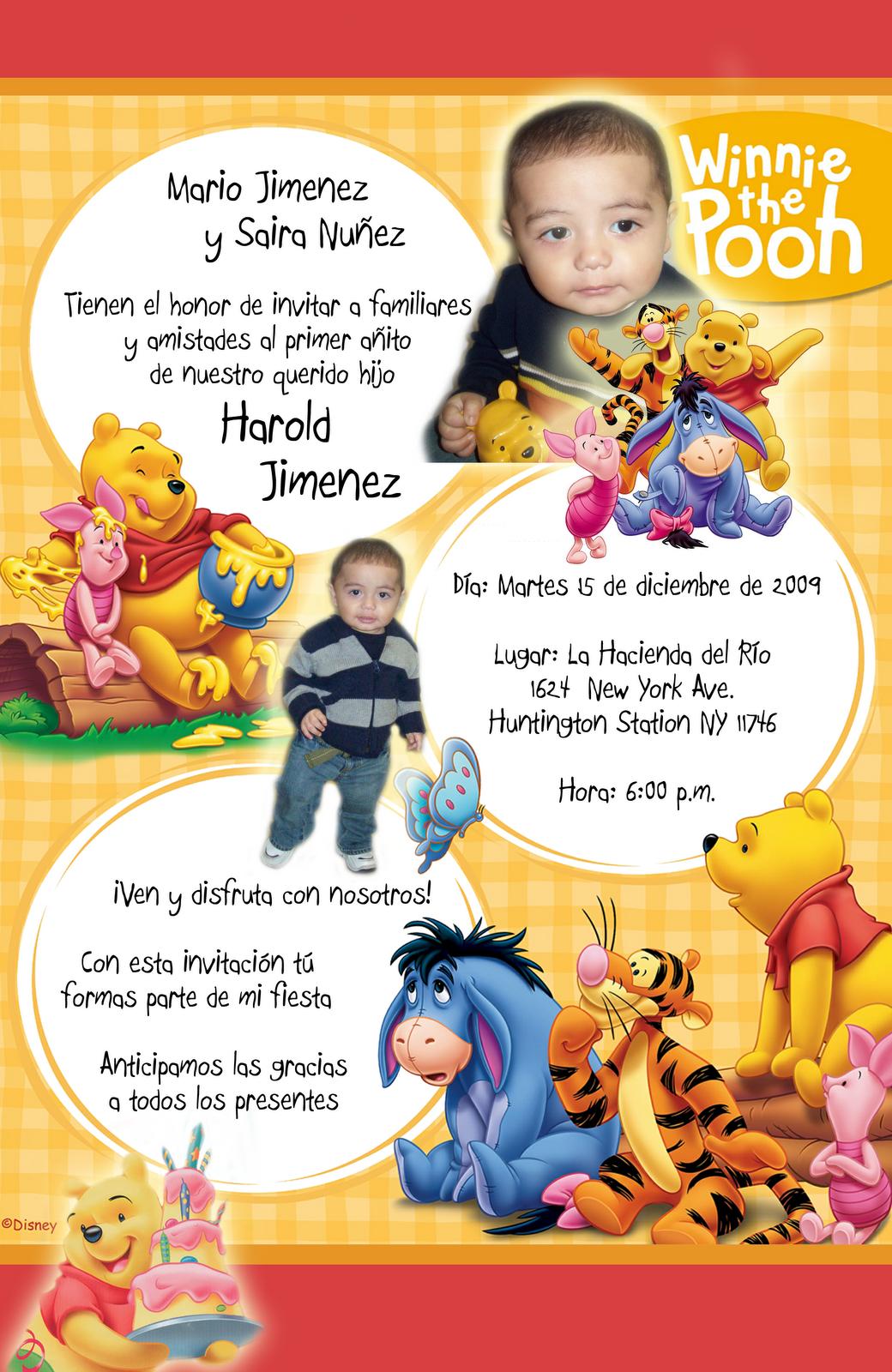 Tarjeta de Invitación Infantil de Cumpleaños Winnie Pooh 1 Año