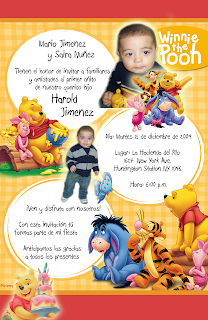 Tarjeta de Invitación de Cumpleaños de Winnie Pooh