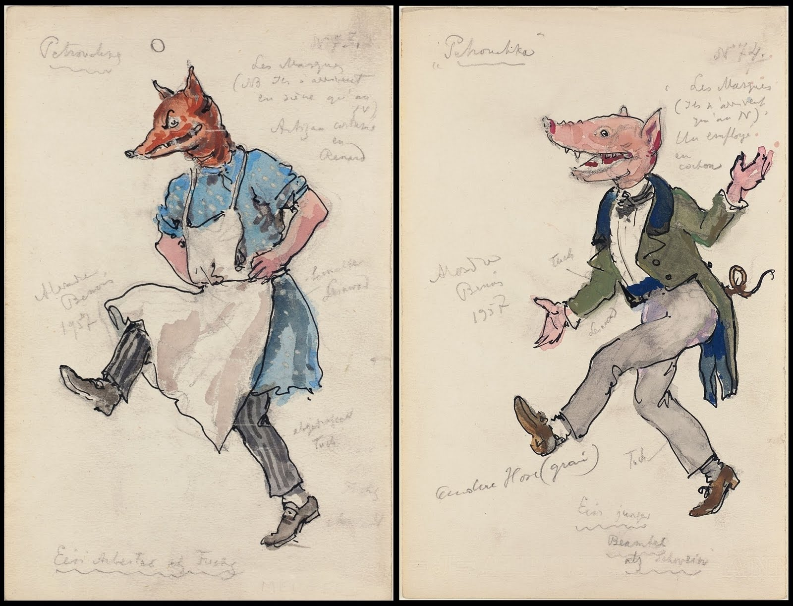 anthropomorphic pig and fox drawings for the ballet, Petrushka