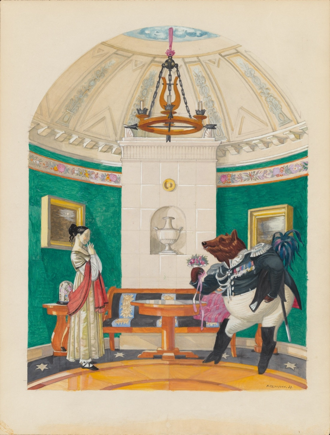 ballet scene design: bear in uniform with lady