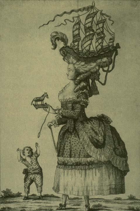 romantic era satirical print on hairstyles