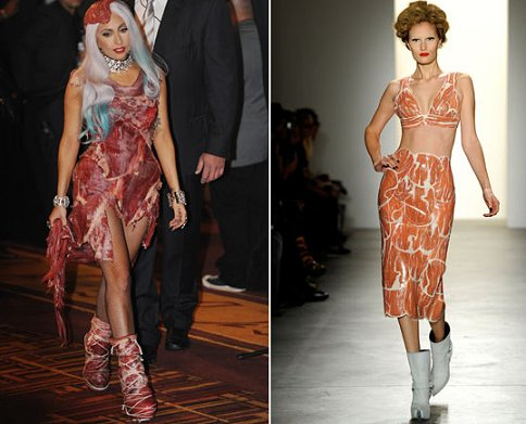 lady gaga meat dress smell