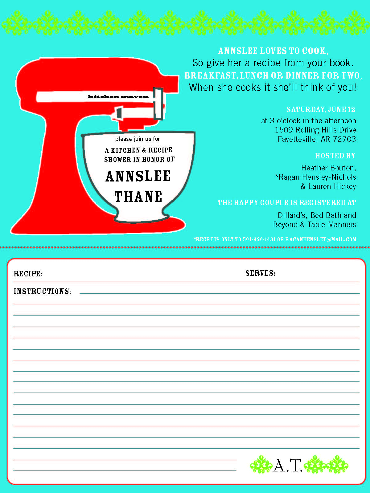 Bridal Shower Invitations with Recipe Cards