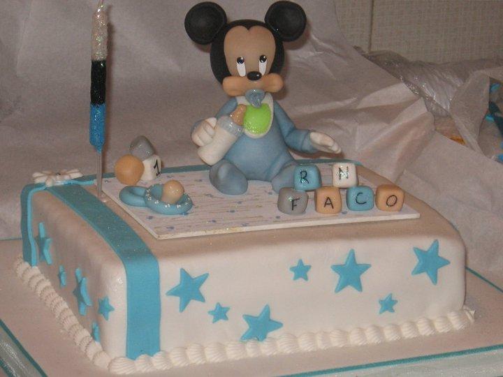 ... FRIA: Mickey y Minnie bebé Adorno de torta en porcelana fría