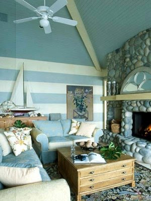 blue stripes living room