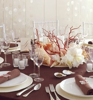shell and coral table centerpiece