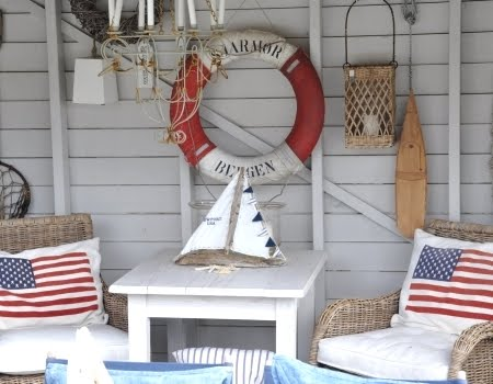 Red White And Blue American Flag Decor Meets Nautical Style