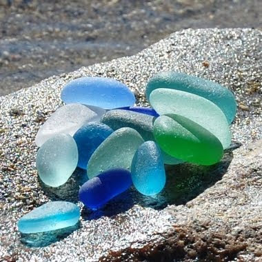 sea glass found on the beach
