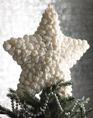 shell Christmas tree topper white