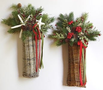Nantucket Christmas Holiday Wall Baskets