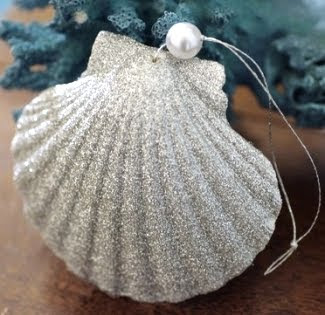 shell ornament with silver glitter