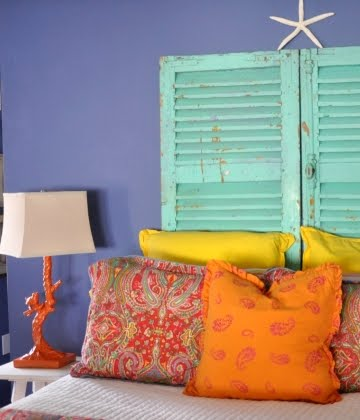 shabby chic shutters as headboard