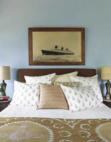chic bedroom with old photograph of SS Normandie
