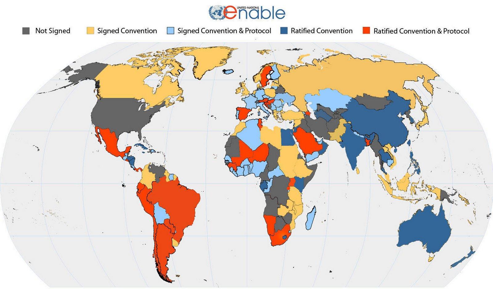 Mapa de Firmas y ratificaciones de la Convención y de su Protocolo facultativo